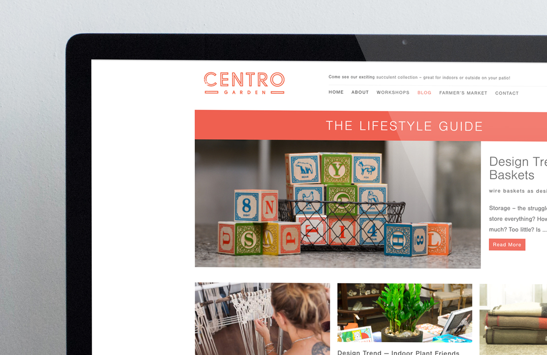 Small section of centrogarden.ca. A custom Wordpress website built by Hamilton based design studio, The Foreign Office.