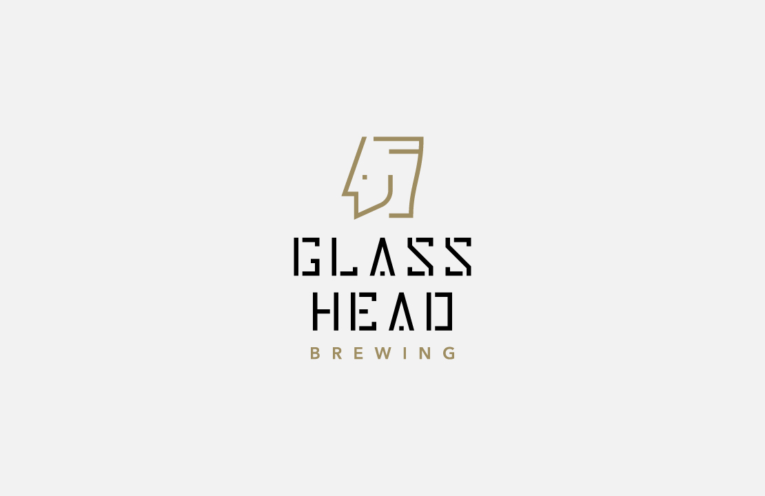 Logo design for the new microbrewery Glass Head Brewing by Hamilton design studio, The Foreign Office