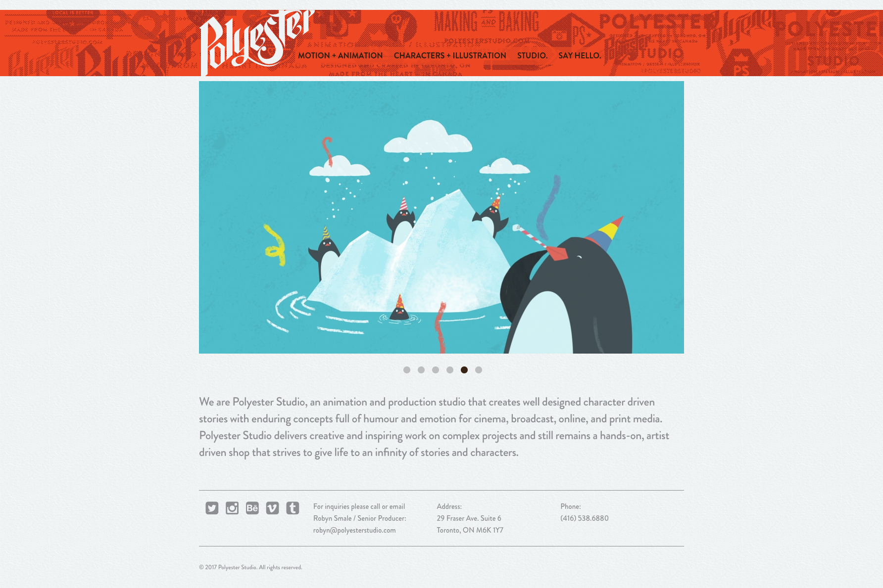 A flat visual of the homepage on the Polyester Studio website, produced by the Foreign Office, a web and print design studio in Hamilton, Ontario.